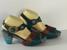L Artiste Spring Step Jive Sandals Womens 42 Blue Hand Paint Perforated Leather