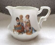 "Antique Children's Toy Milk Jug Pitcher Girls Doing  Laundry Victorian 3""  T21"