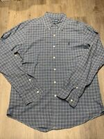 Vintage Ralph Lauren Mens Long Sleeve Plaid Button Down Shirt Blue Size Medium
