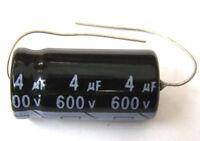 QTY 6 New MIEC 4UF 600V 105C Axial Electrolytic Capacitors