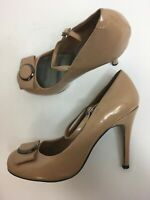WOMENS NEXT LIGHT BROWN PATENT LEATHER FOOT STRAP BOW HIGH HEEL SHOES UK 7 EU 41