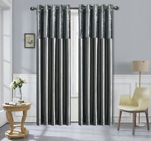 CHARCOAL  CRUSHED VELVET &  FAUX SILK CURTAINS EYELET RING TOP FULLY LINED