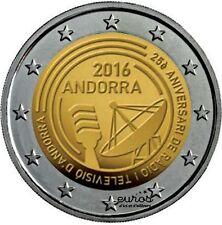 Pièce de 2 euros commémorative ANDORRE 2016 - 25ème anniver. Radio et télévision
