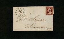 "#11 - 1852 Virginia ""CLARKSVILLE Va."" PRETTY GREEN to Dr. Stribling in Staunton"