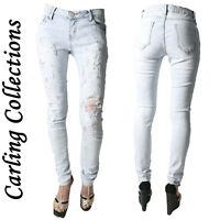 Women Ladies Studded Faded Ripped Torn Skinny Slim Jeans Denim Trousers Sizes