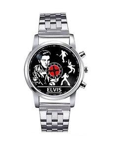 Elvis Presley Luxury Metal Strap Lovely Wristwatch Wrist Watch Adults Silver MA