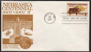 1967 Nebraska 100 yrs  Sc 1328-29 Centennial 1st cachet