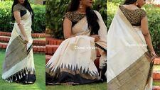 Art Silk Cotton Printed Off-White Saree
