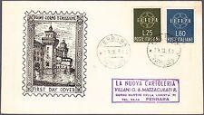 ITALIA BUSTA EUROPA  IDEA EUROPEA 1959 ANNULLO FERRARA FDC VIAGGIATA