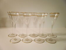 BACCARAT Tall French Crystal Aperitif Cordial glasses Etched GIlt x 9 REDUCED!