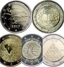 2 Euros conmemorativos Finlandia 2007 , 2007 TR,  2008, 2009, 2009 EMU.