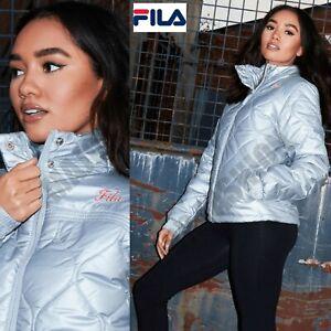 Ladies Womens Fila Silver Metallic Puffer Jacket Padded Bubble Comfort UK 10