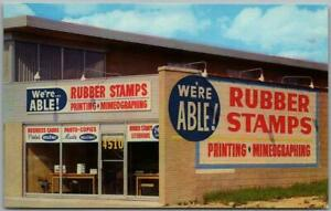 """ROYAL OAK, Michigan Chrome Advertising Postcard """"We're Able RUBBER STAMPS"""" 1950s"""