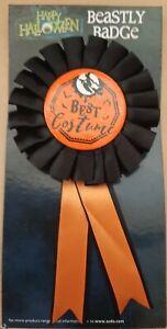 HALLOWEEN BEST COSTUME ROSSETT BADGE PUMPKIN BAT BLACK & ORANGE TRICK OR TREAT