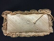 Vintage Beautiful Rectangular Lace Hat Pin or Brooch Cushion