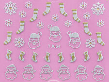 Christmas Matte SILVER GOLD Santa Snowflakes Stocking 3D Nail Art Sticker Decal