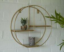 Large Round Gold Metal Display Multi Shelf Shelves Modern Wall Unit Lounge