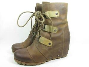 Sorel Joan of Arctic Mid Wedge Boot Waterproof Women size 8.5 Brown Leather