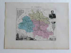 ARIÈGE Carte géographique A Vuillemin Atlas Migeon gravé / Ch. Dyonnet CLAUSEL