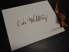 """Our Wedding "" Gold Foil Wedding Guest Book & Golden Satin Ribbon"