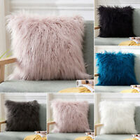 Luxury Fluffy Furry Cushion Covers Soft Cozy Pillow Case Bed Home Car Decor