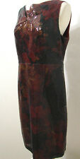 ELIE TAHARI Maroon Black Baby Sequin Sleeveless Burnout Like Sheath Dress 12