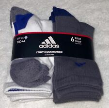 ADIDAS 6 Pack Grey White Cushioned Crew Sport Socks NEW Youth Sz M 13c-4y L 3y-9