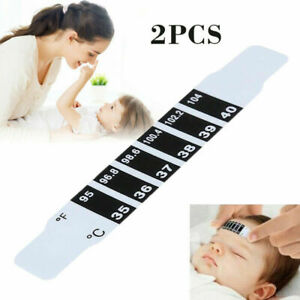 2X NEW FOREHEAD THERMOMETER STRIP FEVER BABY CHILD ADULT CHECK TEST TEMPERATURE
