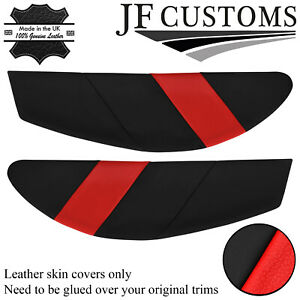 RED & BLACK LEATHER 2X DOOR CARD TRIM INSERT COVERS FITS LOTUS ELAN M100 JF1