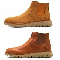 Caterpillar CAT Kase Leather Ankle Chelsea Boots in Brown & Tan