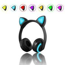 LED Glowing Cat Ear Wireless Bluetooth Headset 7Colors Stereo Headphone Earphone