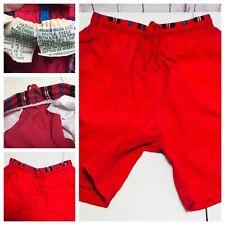 Vtg 80s Mens M Red ST JOHNS BAY Nylon chubbies Elastic Waist shorts Trunks