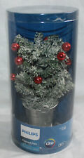 "Philips LED Decorated Flocked Christmas Tree Light Battery Operated 8"" Desk NEW"