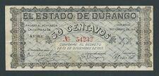 F.C. MEJICO MEXICO , DURANGO , 50 CENTAVOS 1914 , MBC- (VF) , SERIE C , P.S739