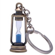 Metal Lamp Shape Sand Timer Hourglass Key Chain Ring Trinket Keyring Keychain