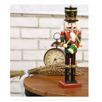 30cm Wooden Nutcracker Drummer Soldier Figures Model Xmas Home Ornament Gift