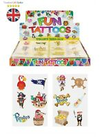 PIRATE KIDS TEMPORARY TATTOOS Assorted Designs Party Bag Filler Loot Girls BOYS