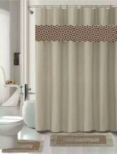 15PC PRINTED BATHROOM SET BATH MATS SHOWER CURTAIN HOOKS W/MATCHING MATS rugs