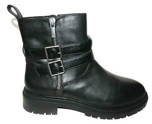 New Lucky Brand Basimi Black Wedge Combat Hiker Moto Boots Ankle Bootie 6.5