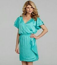 Antonio Melani Wesley Green Satin Wrap Ruffle Flutter Sleeve Social Dress 0 $169
