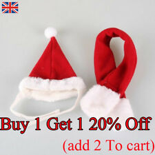 Pet Dog Cat Santa Hat Scarf Christmas Xmas Red Holiday Costume Apparel E UK SHIP