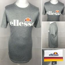 ELLESSE T-Shirt Size XL Men's Short Sleeve Grey Fitted & White Casual Gym Top