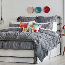 The Pioneer Woman Ruched Gray Chevron Comforter, Full Queen Bed Cover