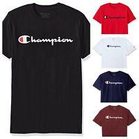 Champion T-Shirt Script Logo Adult Tee Cotton Athletic Fit (6 Colors)(S-3XL)