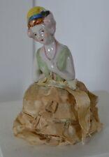 Vintage Green Flapper Half Doll Pin Cushion Porcelain