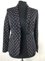BNWT M&S Black & Red Diamond Print Blazer Jacket UK Size 12 Smart Work