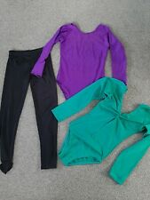 Girls gymnastics leotards and leggings, 7-8 years