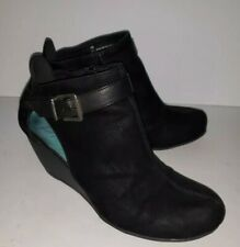 BLOWFISH MALIBU black Faux Suede Buckle Strap Wedge Heel Ankle Boots 10