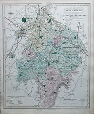 1845  LARGE ANTIQUE COUNTY MAP - RAILWAYS, WARWICKSHIRE STRATFORD COVENTRY SHIPS