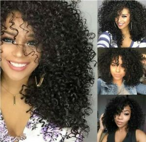 """Synthetic Afro Curly Hair Wigs for Black Woman Short Kinky Hair Jet Black 16"""""""